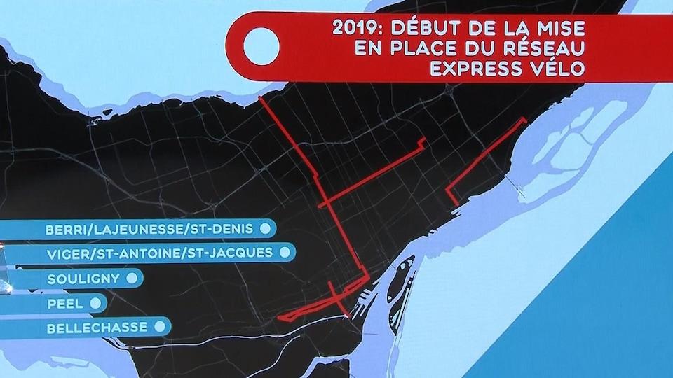 Une carte des cinq premiers tronçons du Réseau Vélo Express.