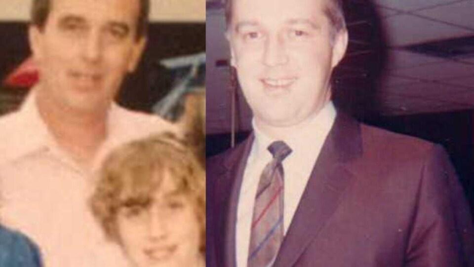 Un collage de deux photos avec les visages de trois personnes.