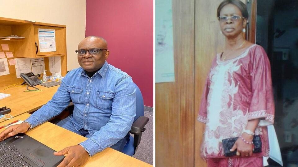 Montage photo de Richard Makitu dans un bureau et d'une autre photo de sa mère Madeleine Mwanga.