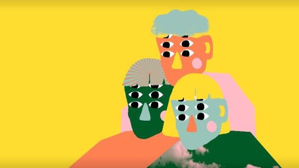 Dessin de trois personnages à six yeux, sur fond jaune