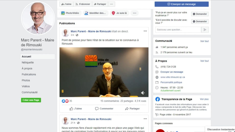 Le maire de Rimouski, Marie Parent, lors d'un point de presse en vidéoconférence depuis l'Hôtel de Ville pour annoncer la mise en place d'un plan d'intervention afin d'assurer les services essentiels en tout temps