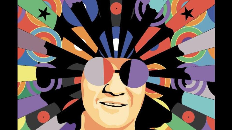 De nombreuses couleurs ornent les cheveux du chanteur qui porte des lunettes rondes.