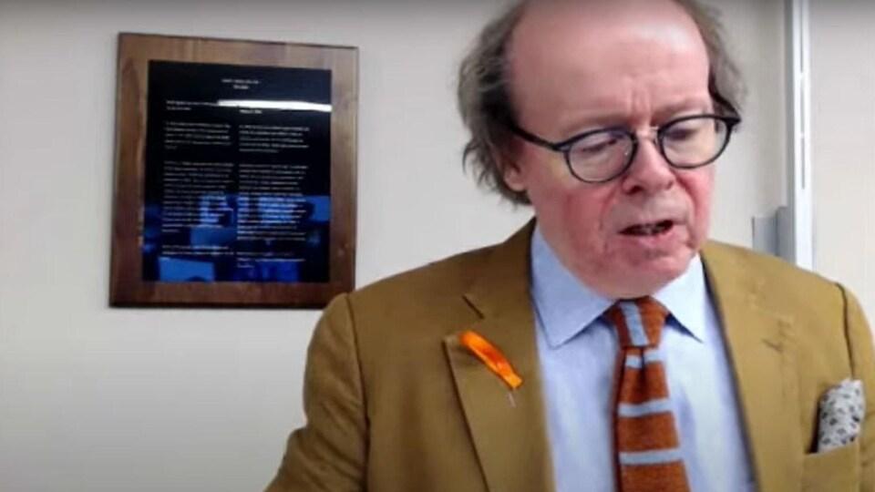 L'avocat du gouvernement fédéral, Robert Frater, plaidant en vidéoconférence.