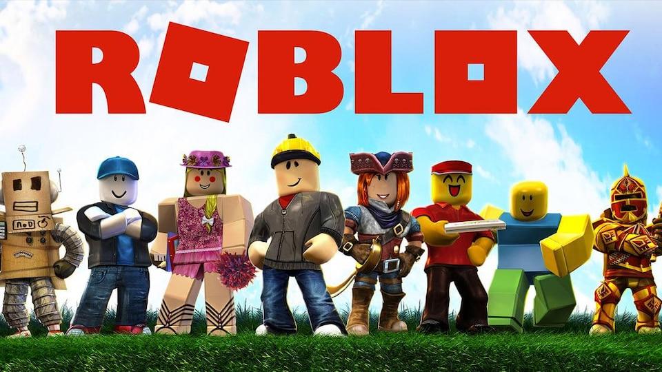 Huit avatars animés avec le logo de Roblox au-dessus.