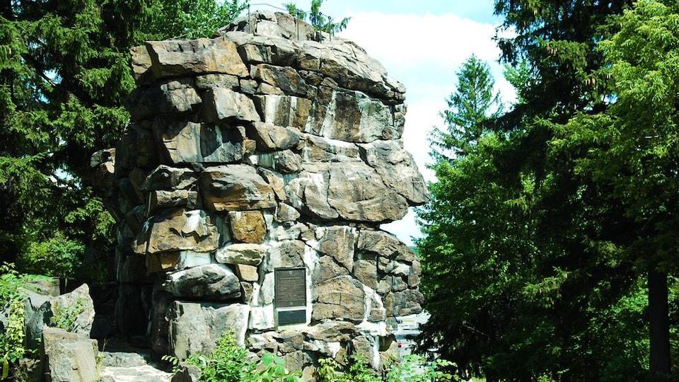 Un rocher entouré d'arbres
