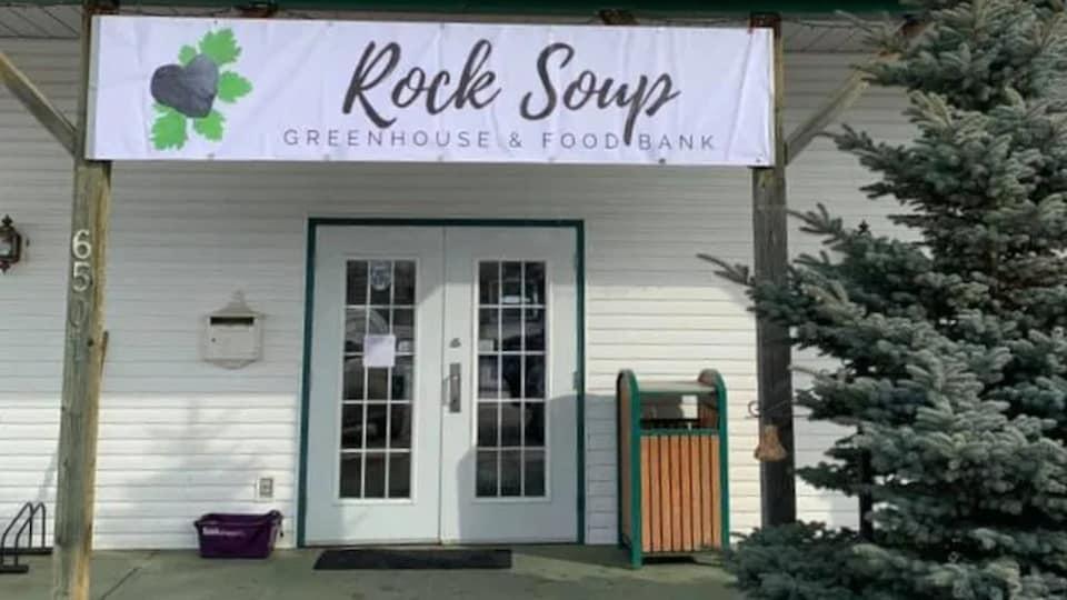 La porte d'entrée de la banque alimentaire Rock Soup.