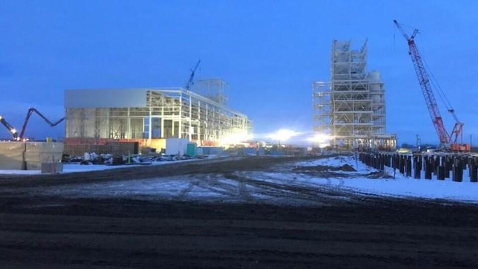 Le site de l'usine Roquette à Portage la Praire avec deux structures en cours de construction.