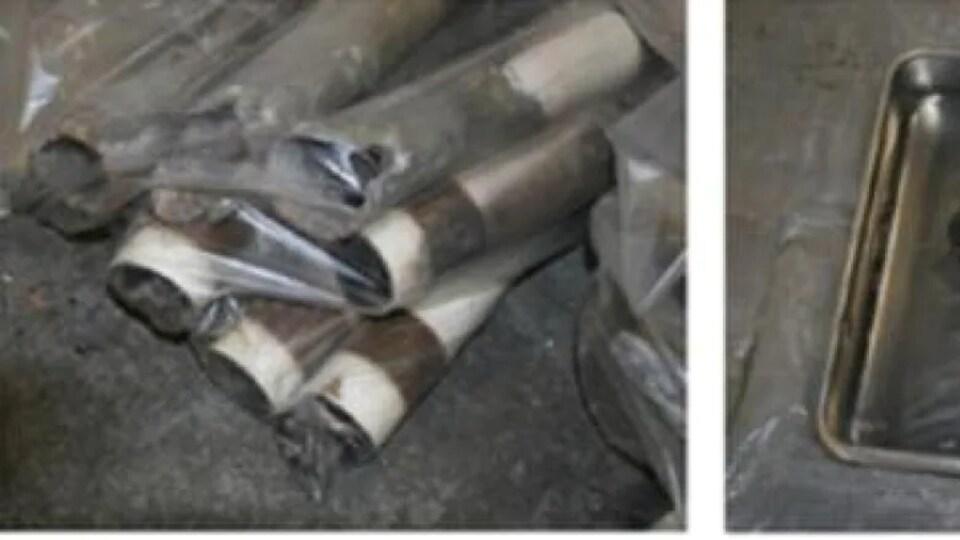 Des photos de fusées CRV7 calcinées.