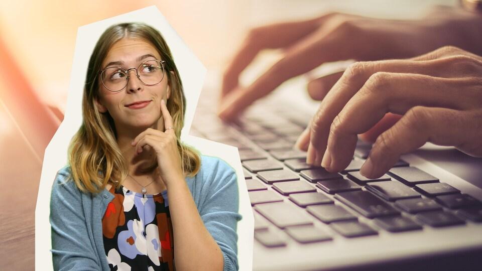 La journaliste et chroniqueuse Rosalie Dumais-Beaulieu avec une photo de clavier d'ordinateur en arrière-plan.