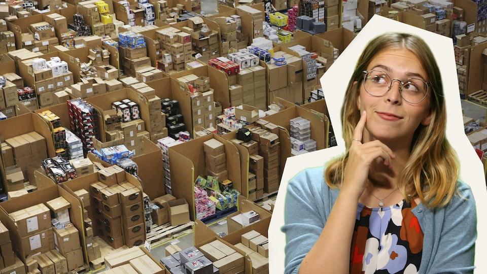 Un montage de Rosalie devant un entrepôt rempli de boites.