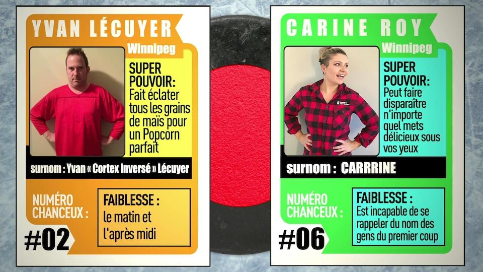 En format carte de hockey, les deux joueurs de l'équipe des rouges d'IMPROVISIO 2: Yvan Lécuyer et Carine Roy.