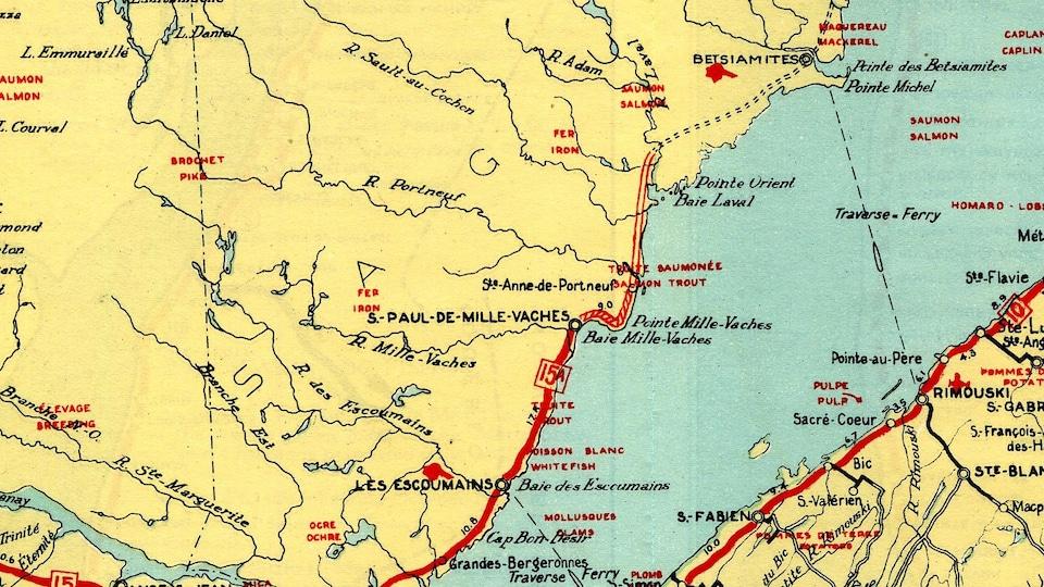 Une vieille carte de la route 138.