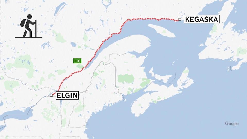 Une carte indique la route 138, de Elgin en Montérégie, à Kegaska, sur la Côte-Nord.