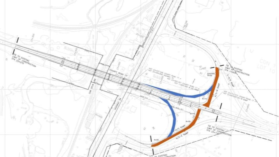 Une carte montrant ce qui est envisagé pour l'intersection des routes 17 et 34 dans l'Est ontarien.