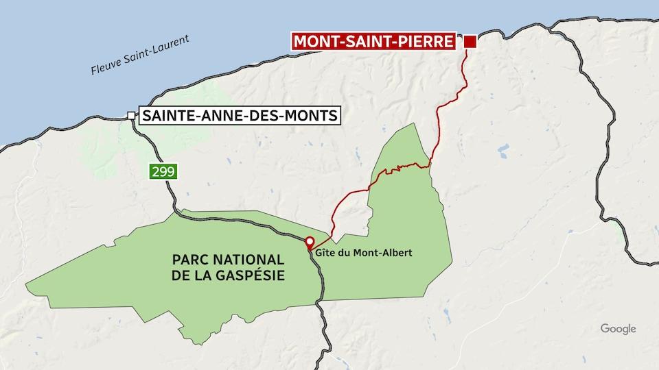 Une carte infographique montre la rouge entre Mont-Saint-Pierre et le parc national de la Gaspésie.