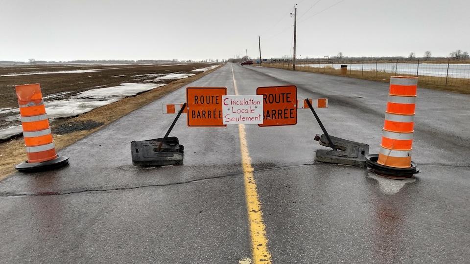 Une barrière de fortune et des cônes bloquent une route de campagne.