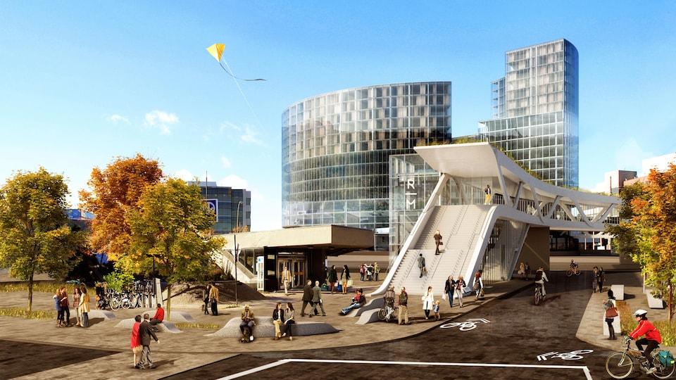 Le plan d'une station de métro et d'une passerelle.