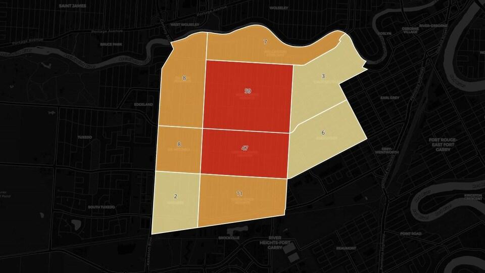 Le nombre d'incidents analysé par ICI Radio-Canada selon différents secteurs du quartier River Heights