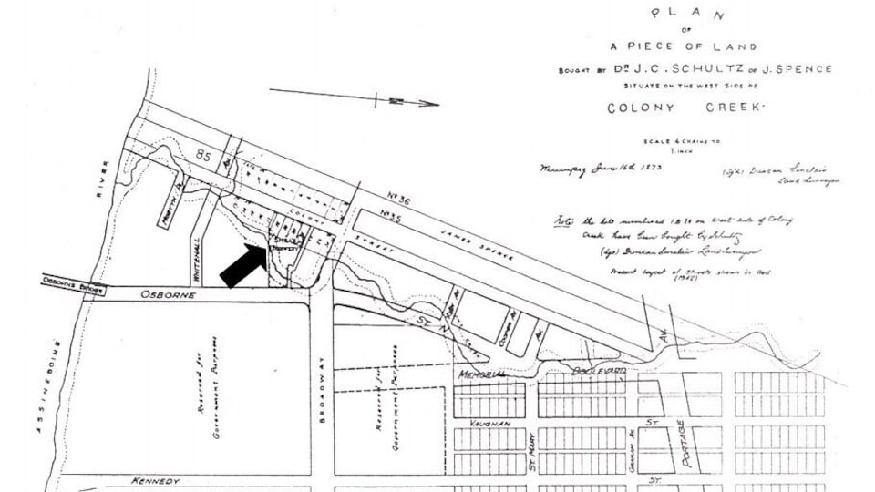 Une carte indiquant où se trouvait le ruisseau Colony en 1873.