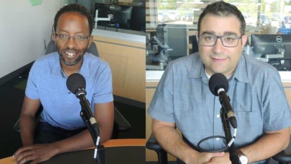 Les deux hommes en entrevue dans les studios de Radio-Canada.