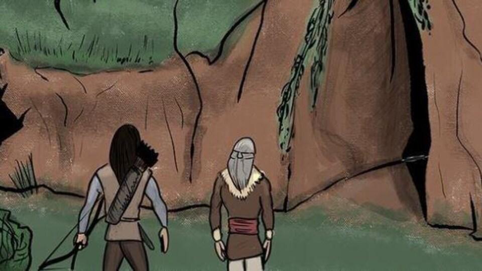 Une bande dessiné où deux autochtones de dos regardent une crevasse à l'intérieur d'une montage. On se demande s'ils vont s'y aventurer ou non.
