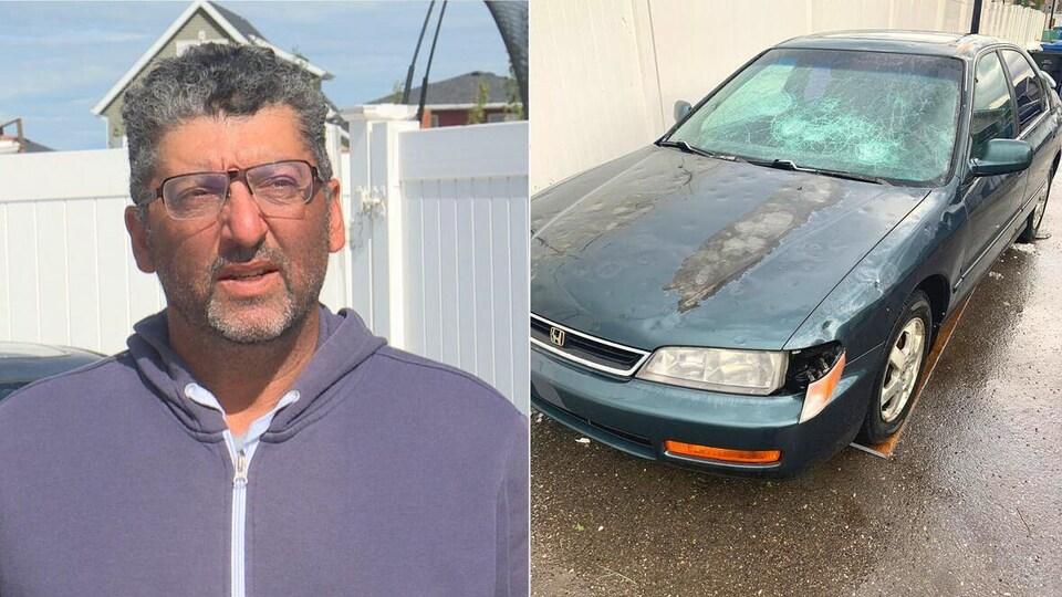 Un montage photo. À gauche se trouve une photo de Saad Taleb. À droite, on peut voir une photo de sa voiture endommagée.