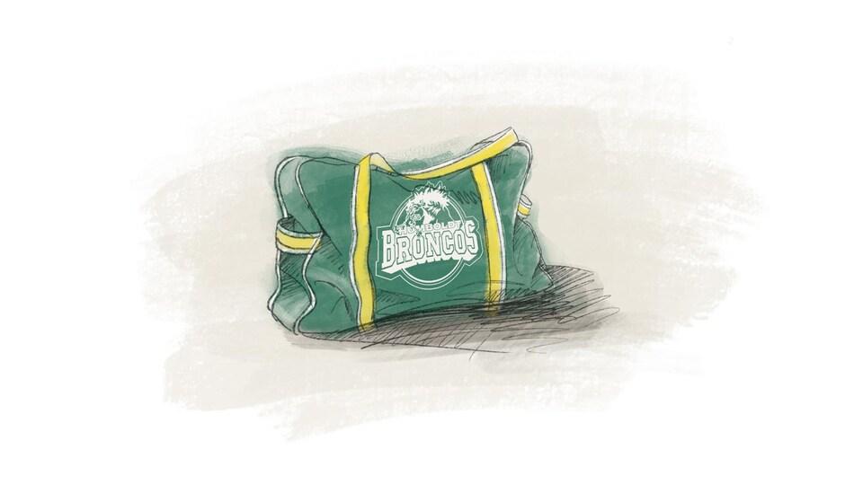 Un sac de hockey des Broncos de Humboldt