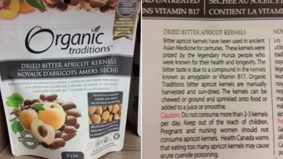 Un sachet d'amandes d'abricots amères de la marque Organic traditions