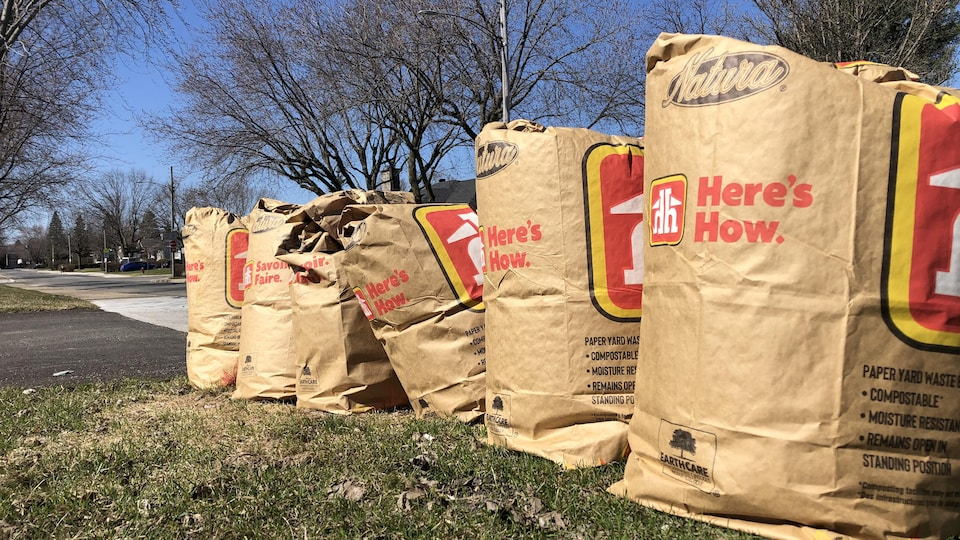 Six sacs pleins de résidus bruns sont en bordure de la rue.