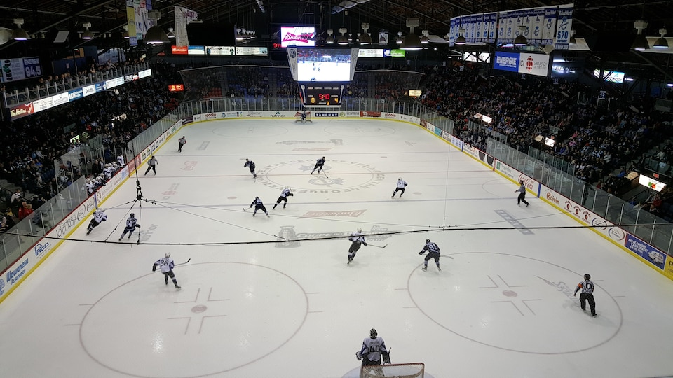 Les joueurs des Saguenéens de Chicoutimi sur la glace du Centre Georges-Vézina