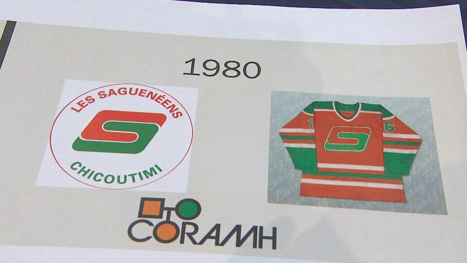 Le logo et le chandail des Sags en 1980.