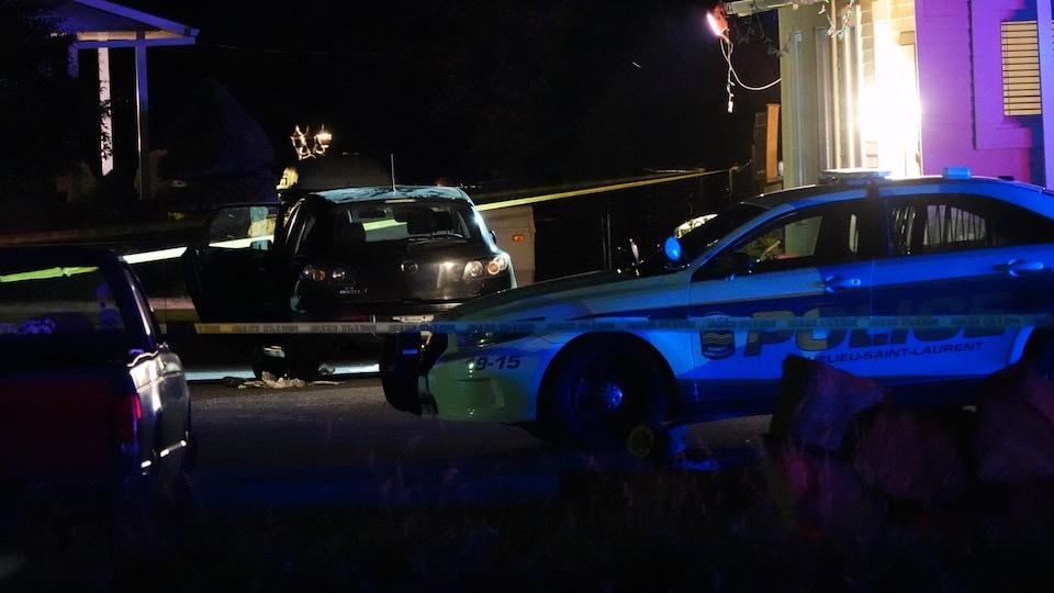 Une autopatrouille sur les lieux de l'accident.