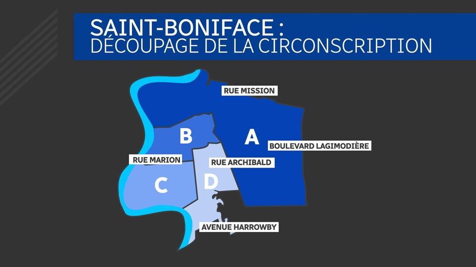 La carte de Saint-Boniface : au nord, la rue Mission, à l'est, le boulevard Lagimodière, au sud, l'avenue Harrowby, à l'ouest, la rivière Rouge. Au centre on voit aussi les rues Marions et Archibald.
