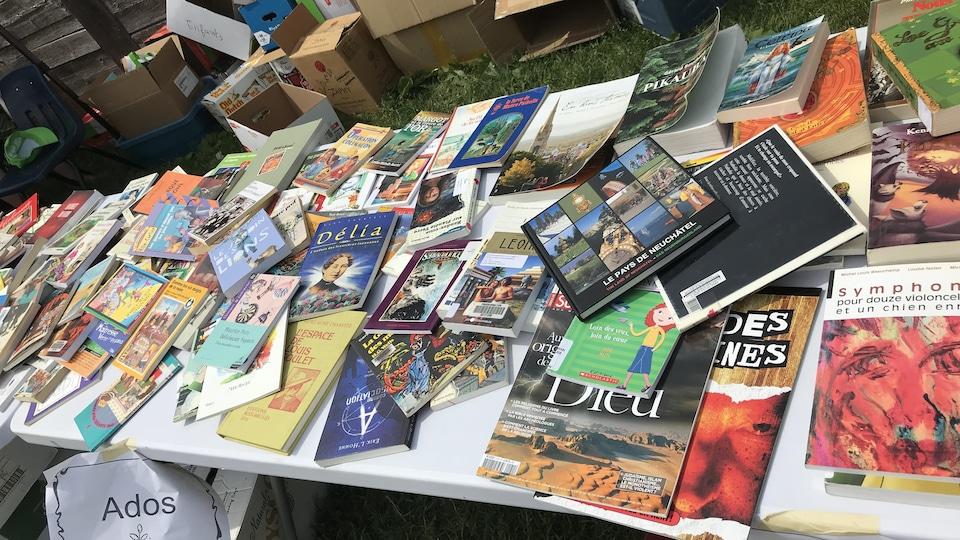 Des livres étalés sur une table.