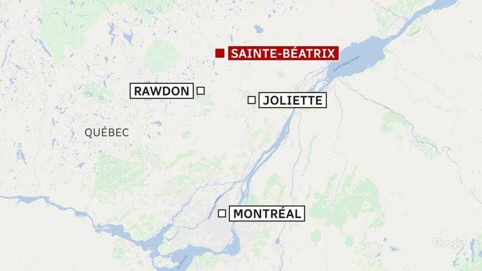 Une carte du sud du Québec.