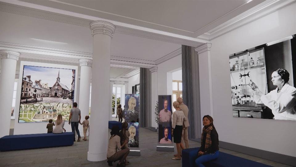 Esquisse d'une salle d'exposition.