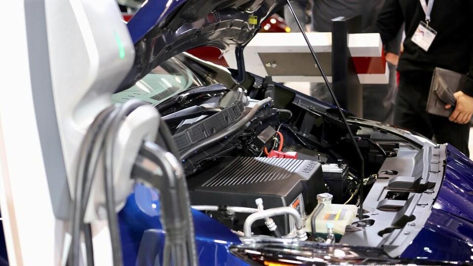 Le moteur d'une voiture électrique.