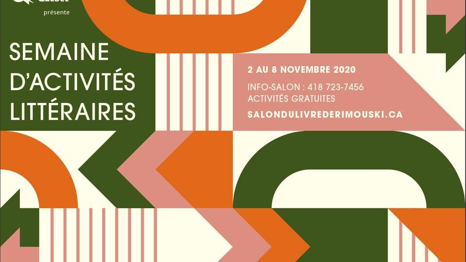 Une affiche présentant les dates du Salon du livre de Rimouski en novembre 2020.