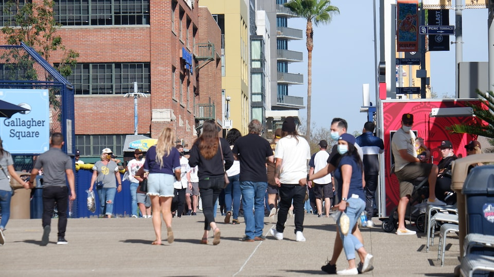 Padres supporters on the streets of San Diego, California.