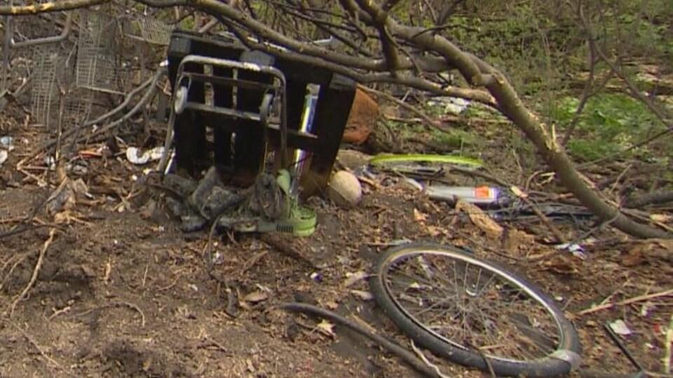De la litière éparpillée dans le parc Dawson où de nombreux incendies ont éclaté au printemps.