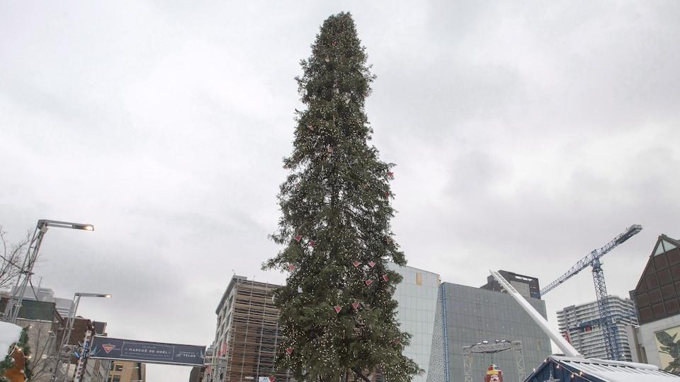 L'arbre de Noël se tient, chétif, au centre de la place des Festivals, sous un ciel gris.