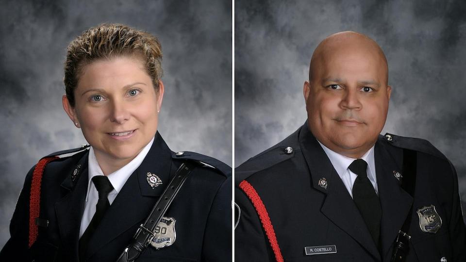 Les deux photos officielles des agents morts en service.