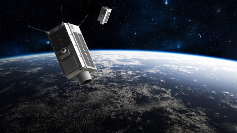 Impression artistique de deux satellites en orbite autour de la Terre.