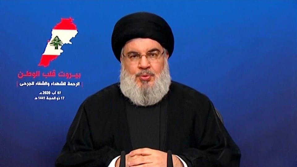 Sayyad Hassan Nasrallah, le chef du Hezbollah, lors d'une allocution télévisée.