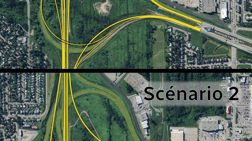 Une vue aérienne de l'échangeur Félix-Leclerc selon les deux scénarios étudiés dans le cadre des travaux d'élargissement de l'autoroute Félix-Leclerc