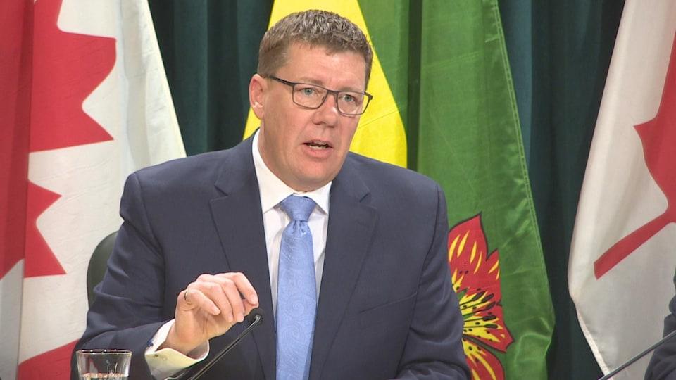 Scott Moe pendant l'un des point de presse quotidien de la province sur la COVID-19.