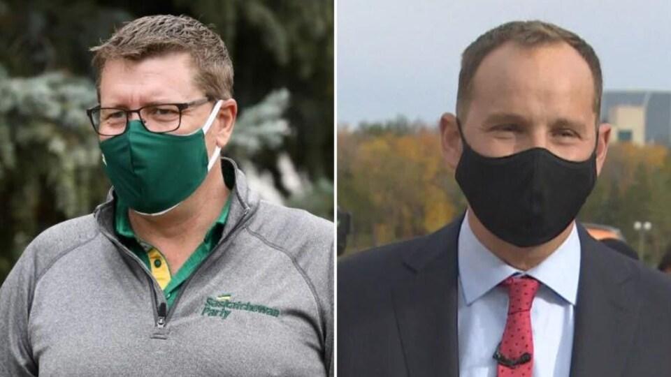 Montage avec deux photos montrant Scott Moe et Ryan Meili portant un masque.