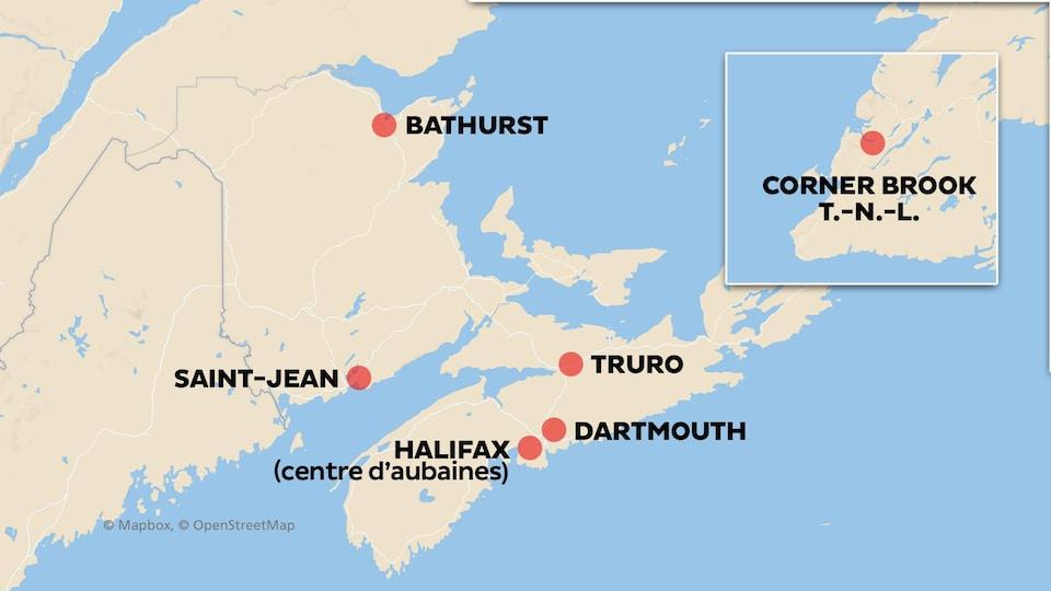Les six villes de l'Atlantique qui verront leur magasin Sears fermer.