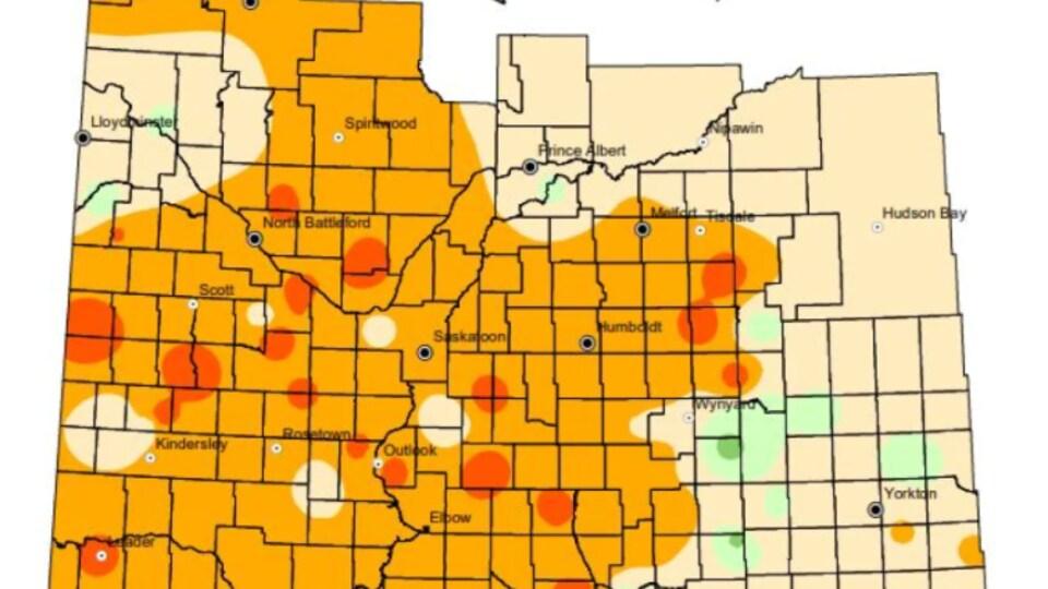 Une carte montrant les niveaux de sécheresse et d'humidité en Saskatchewan.