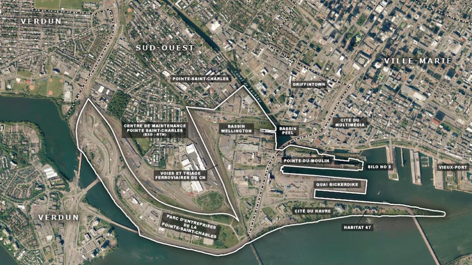 Une carte du secteur Bridge-Bonaventure à Montréal.